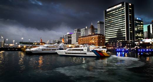 Chris Robinson; Auckland Ferries Gathering in the Storm