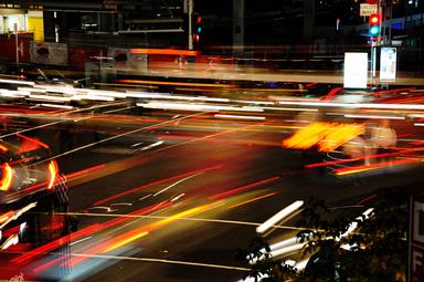 Shot cnr Customs and Queen Streets - entire phasing of traffic lights captured with long exposure