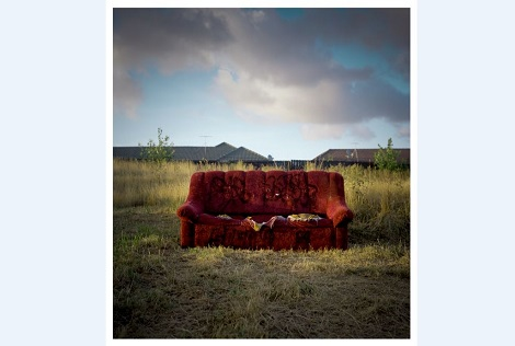 Red Couch South by Terry Klavenes