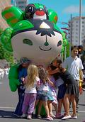 John Ling; every kids Love the Mascot; in Xmas Parade in Auckland
