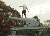 Darius Mccallum; Have gun will surf; impulsively surfing an artillery piece in the rain, Albert Park