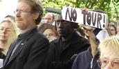 JD; Not Cricket Protest; Former Green Party leader Rod Donaldson at anti Zimbabwe tour rally 2005